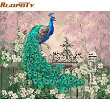 2019 Unique Gift RUOPOTY <b>Diy</b> Frame <b>Peacock DIY</b> Painting By ...