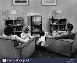 Living Room Set With Free Tv 1940s 1950s Family Watching Tv In Living Room Stock Photo Royalty