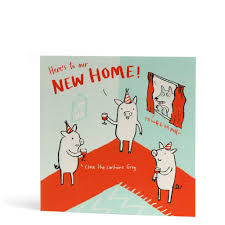 New Home Cartoon Images Pigs New Home Greeting Card
