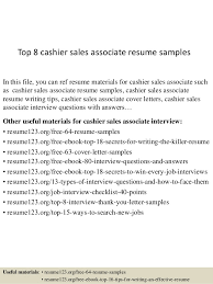 Sales Associate Resume Top 8 Cashier Sales Associate Resume Samples