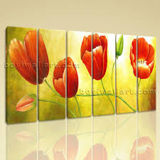 >large red tulip flower painting wall art classic oil living room print red tulip flower painting