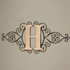 metal rustic scrollwork monogram wall