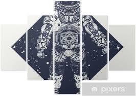 Pentaptych Astronaut Tetování Kosmonaut Ve Vesmíru Trojúhelníkové Stylu