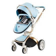 dearest 3 in 1 high landscape leather baby stroller with sleeping basket
