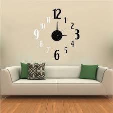 pretentious inspiration clock wall art small home decoration ideas diy 3d black white number design eva