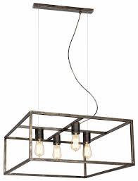 Hanglamp Zwart Koper Of Roest Vierkant Landelijk E27x4 Myplanetled