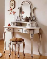 antique white ivory wooden make up table with framed oval mirror and