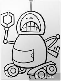 Poster Boos Robot Cartoon Kleurplaat Pixers We Leven Om Te