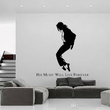 michael jackson black portrait wall stickers mj silhouette wall decals creative wallpaper poster english words wall applique e art wall word