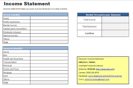 personnal financial statement personal income statement worksheet pesolab