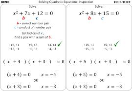 solving quadratic equations using
