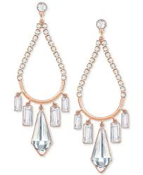 swarovski metallic rose gold tone crystal chandelier earrings lyst view fullscreen