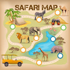 zoo map template. Fine Map Poster For Game With Safari Map And Africa Animal Icons Isolated Vector  Illustration Stock Vector  Inside Zoo Map Template