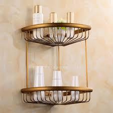 Triangle corner shelves Andrespelaez Faucetsinhomecom Antique Brass Triangle Double Bathroom Corner Shelves