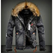 fall 2016 mens fur collar fur lining denim moto thick jacket warm coat trench outwear