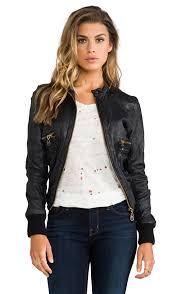 doma leather er jacket in black revolve