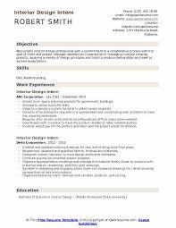 interior design intern resume sles