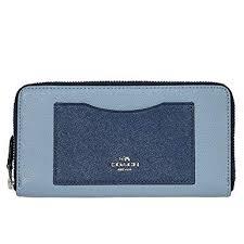 COACH F57605 Accordion Zip Wallet in Geometic Colorblock Crossgrain Leather