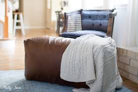 diy leather pouf tutorial make a leather ottoman with this sewing tutorial from melly sews