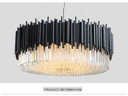 Youlaike Black <b>Round Chandelier</b> Lighting Luxury <b>Modern LED</b> ...