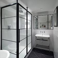 shower with black frame
