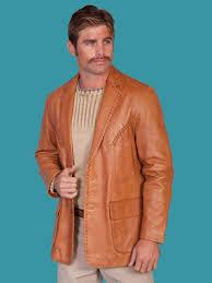scully men s ranch tan italian lamb leather jacket
