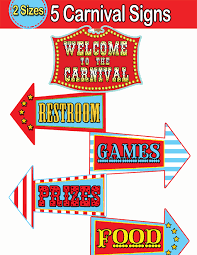 Printable Carnival Tickets Carnival Directional Signs Circus Welcome Sign Instant Download