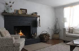 black brick fireplace white room