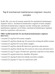 maintenance resume samples top 8 mechanical maintenance engineer resume samples 1 638 jpg cb 1432128309