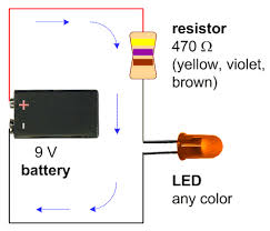 a schematic with a 9v battery, 470 ohm resistor, and a single led of led resistor wiring diagram a schematic with a 9v battery, 470 ohm resistor, and a single led of any color