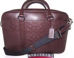 coach men s mahogany brown leather slim signature briefcase bag f72230 nwt 595