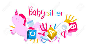 Babysitter Logo Signboard Or Logo For Babysitter With Kids Toys Handprints