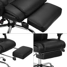 reclining office chairs. Executive Reclining Office Chair High Back Leather Footrest Armchair Ergonomic Chairs E