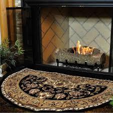 46 half round black and beige kashan hearth rug