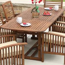 outdoor wood dining furniture. Walker Edison Furniture Company Boardwalk Dark Brown Acacia Wood Extendable Outdoor Dining Table F
