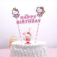 Hello Kitty Happy Birthday Pink Striped Straw Cake Topper Misty