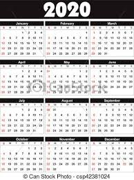 Calendario 2020 Essere Stampa Senza Vettore 2020 Lattina
