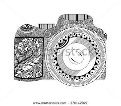 Small Picture Monochrome Coloring Page Camera Hand Drawn Stock Illustration