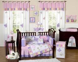 Bedroom:Wooden Crib With Purple Bedding Combining The Wooden Floor Baby  Girl Bedroom Ideas