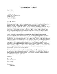 Awesome Collection Of Cover Letter Special Education Teacher