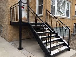 Your outdoor stair railing gives a first impression than can be good or poor, depending on how well it is installed. Wrought Iron Outdoor Stair Railings Black Metal Outside Exterior Stairs Railings Outdoor Outdoor Stair Railing