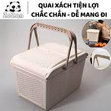 Giỏ đựng quần áo rổ nhựa chữ nhật đựng đồ đi sơ sinh có nắp đậy quai xách  giỏ đi chợ nhựa PP cao cấp Zozon nhập khẩu chính hãng 200,000đ