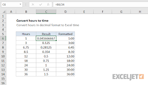 Excel Formula Convert Decimal Hours To Excel Time Exceljet
