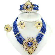 elegant 3 layers blue beads jewellery set with brooch pendant necklace earring bracelet ring beautiful design prestigeapplause jewels