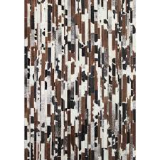 brown and white rug. Vertical Stripes Custom Cowhide Milk White, Brown, Black And White Holstein Brown Rug 1