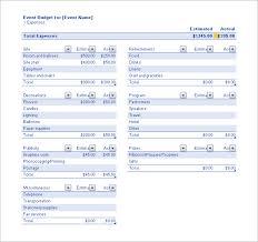 Event Budget Sample Sample Event Budget Download Excel Format Event Budget Template