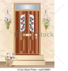 front door clipart. An Illustration Of A Fancy Front Door With Summer Hanging Vector Clipart