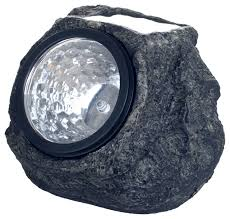 solar led rock landscaping lights set of 4 by pure garden