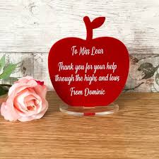 Teacher Message Personalised Any Message Thank You Teacher End Of Term Apple Standing Acrylic