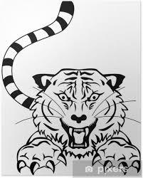 Plakát Rozzlobený Tygr Tetování
